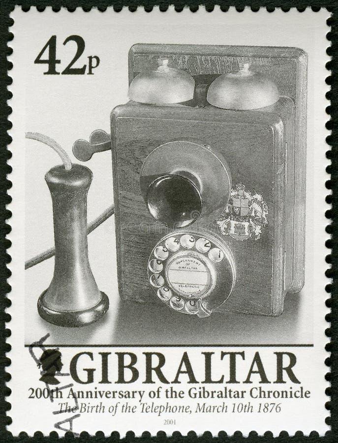 直布罗陀- 2001年:电话1876年3月10的发明日,由亚历山大・格拉汉姆・贝尔,直布罗陀的200年记载 免版税库存照片