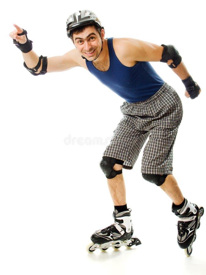 直排轮式溜冰鞋的人 库存图片