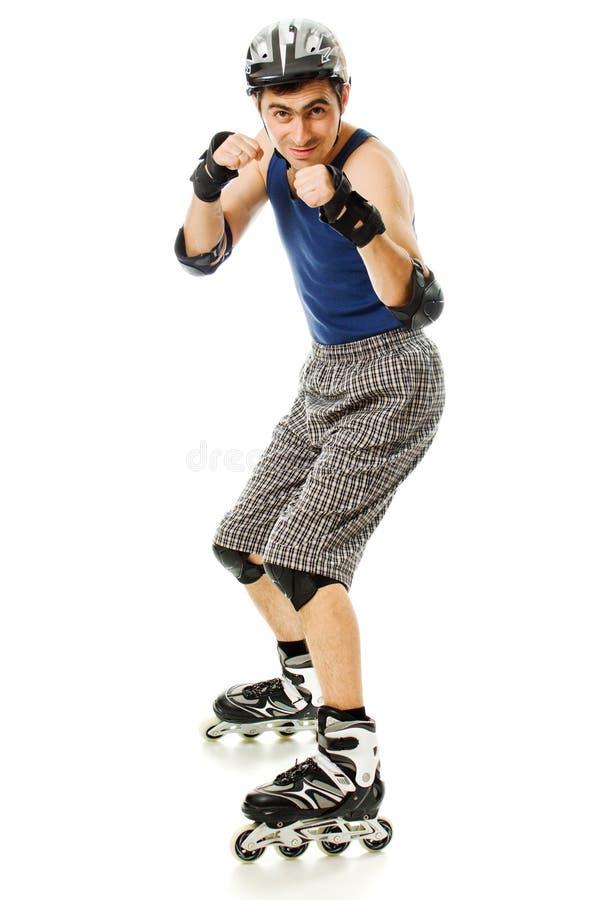 直排轮式溜冰鞋的人 免版税图库摄影