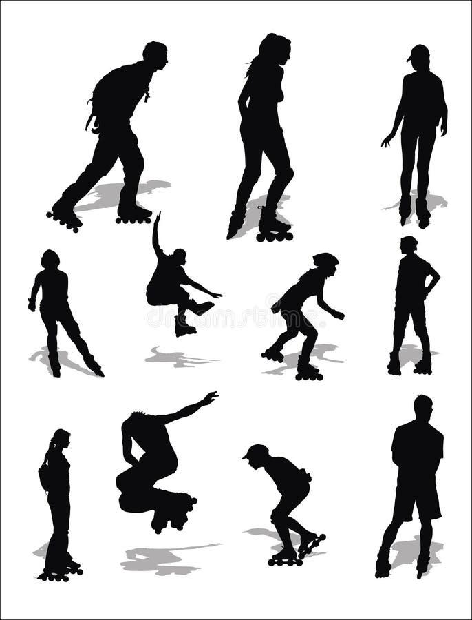 直排轮式溜冰鞋 向量例证