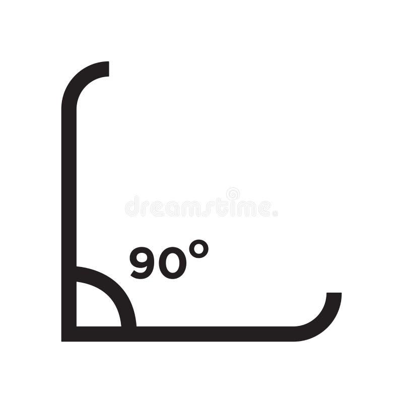 直角90度象在白色背景和标志隔绝的传染媒介标志,直角90度商标概念 皇族释放例证