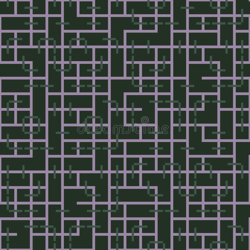 相交方形的装饰品的抽象无缝的传染媒介样式 免版税库存图片