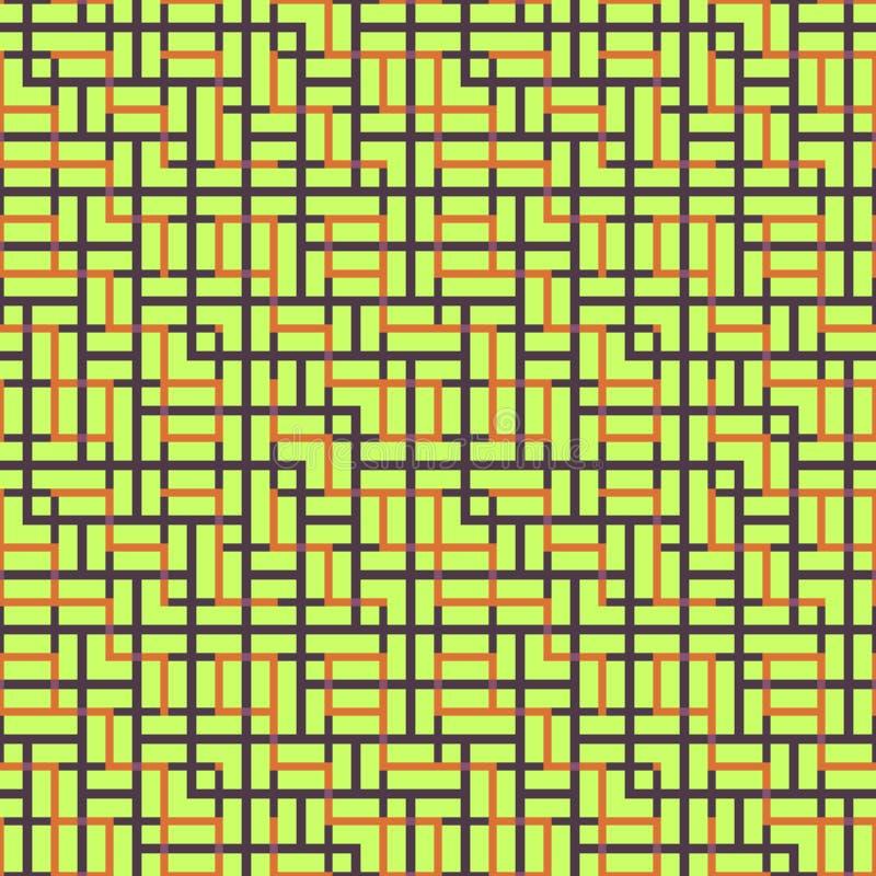 相交方形的装饰品的抽象无缝的传染媒介样式 库存图片