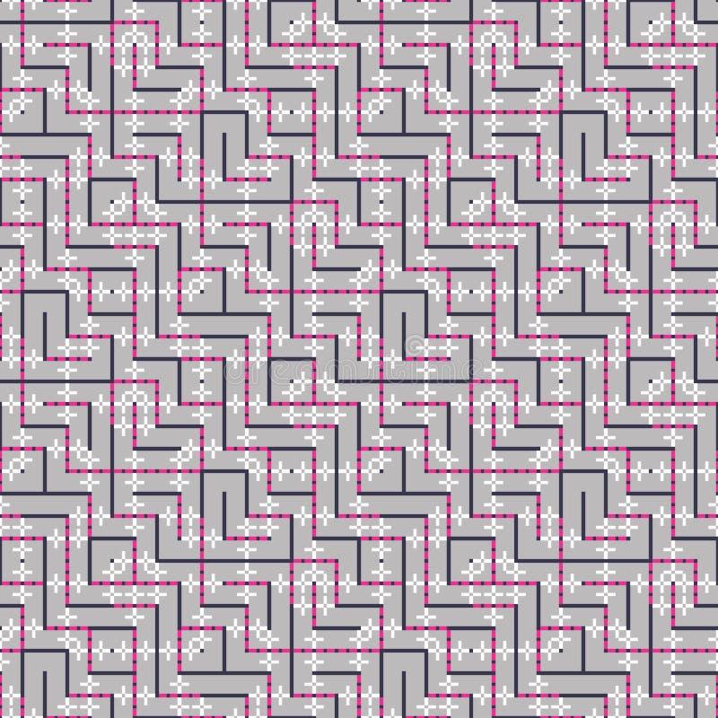 相交方形的装饰品的抽象无缝的传染媒介样式 免版税库存照片