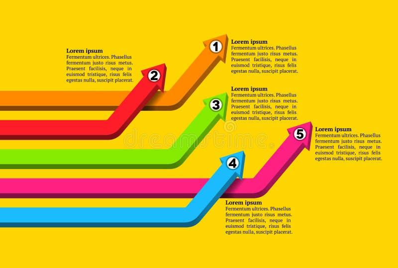 相交的五颜六色的被编号的图表箭头 皇族释放例证