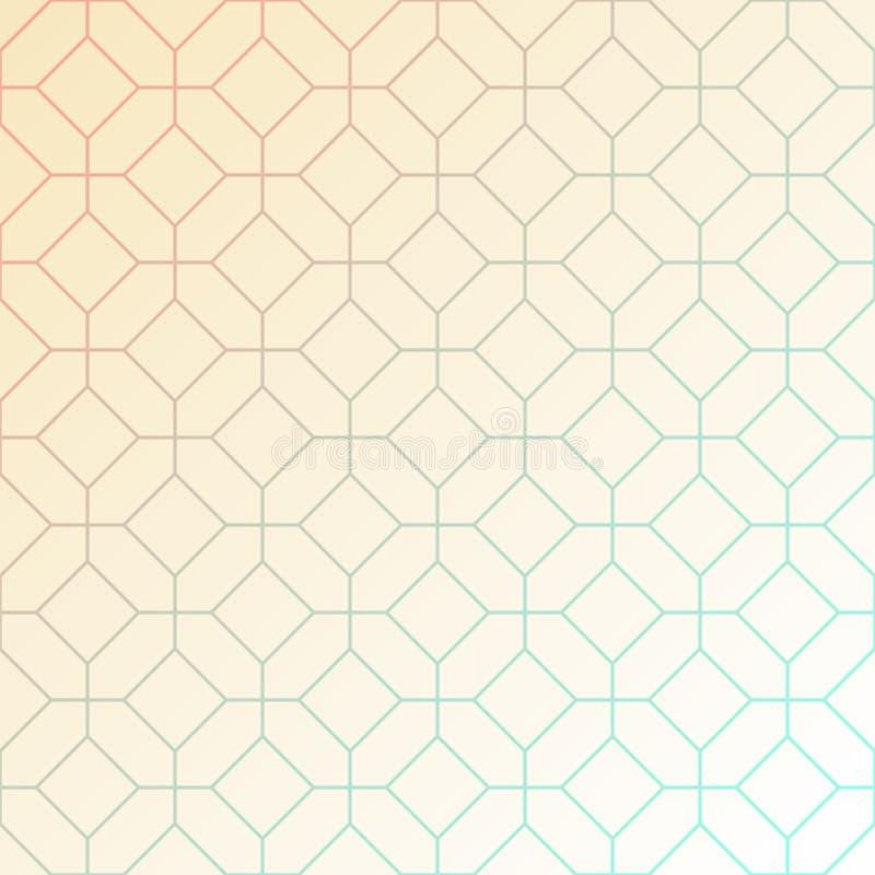 相交的八角形物和正方形的抽象轻的几何样式 向量例证