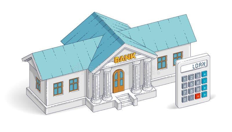 相信概念,与在白色隔绝的计算器的银行大楼 库存例证