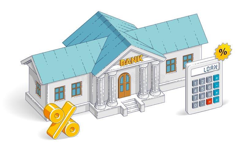 相信概念,与在白色隔绝的计算器的银行大楼 向量例证