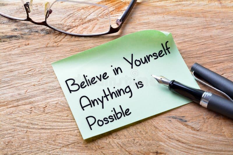 相信任何是可能的你自己 库存照片