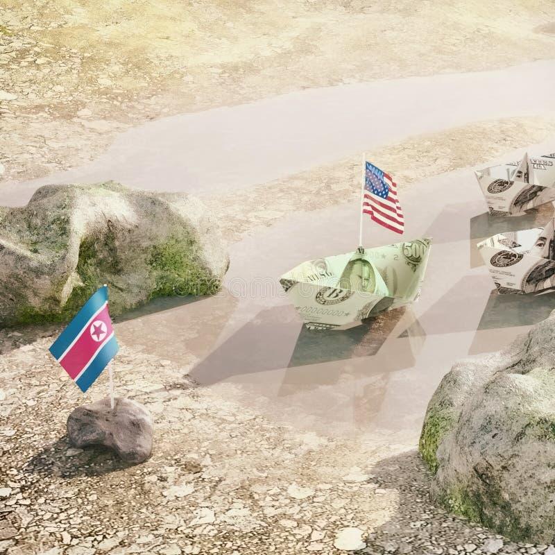 相冲突在美国和北朝鲜-概念例证之间  皇族释放例证