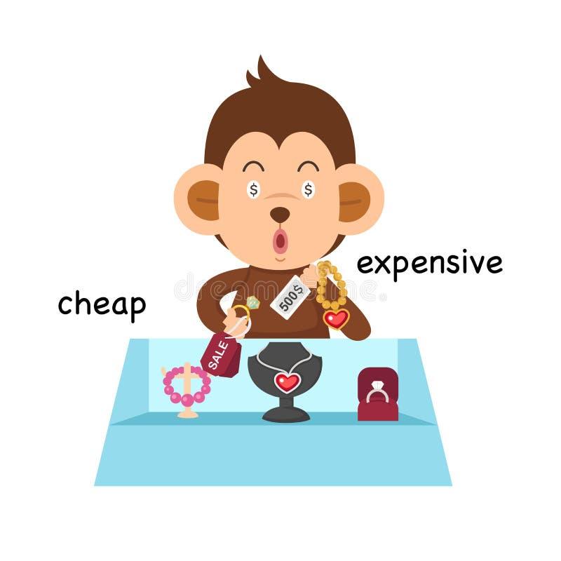 相反便宜和昂贵的例证 皇族释放例证