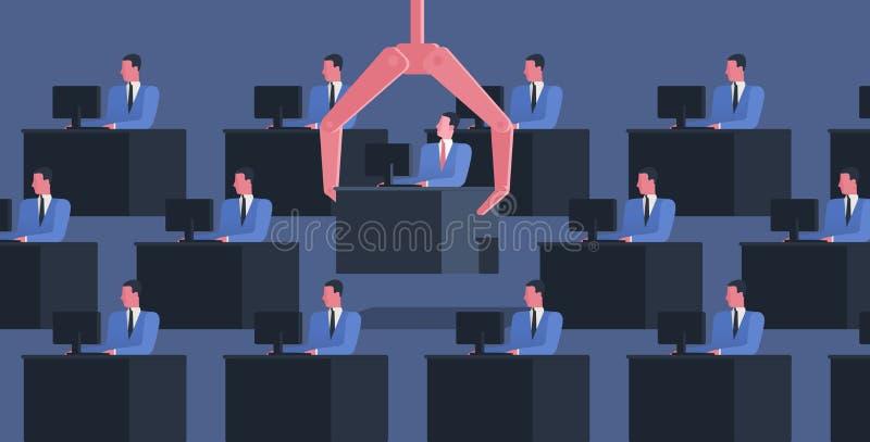 相同人民坐在有劫掠他们中的一个的计算机和大机器人胳膊的书桌 解雇的概念  库存例证
