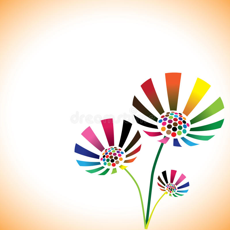 相当与复制空间的五颜六色的春天花束 向量例证