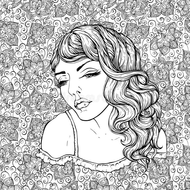 相当乱画背景的典雅的boho女孩的面孔 美丽的波浪卷发图片