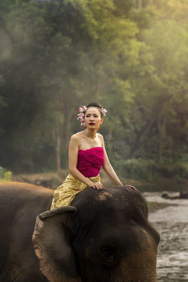 相当传统泰国礼服的泰国女孩在大象 免版税图库摄影