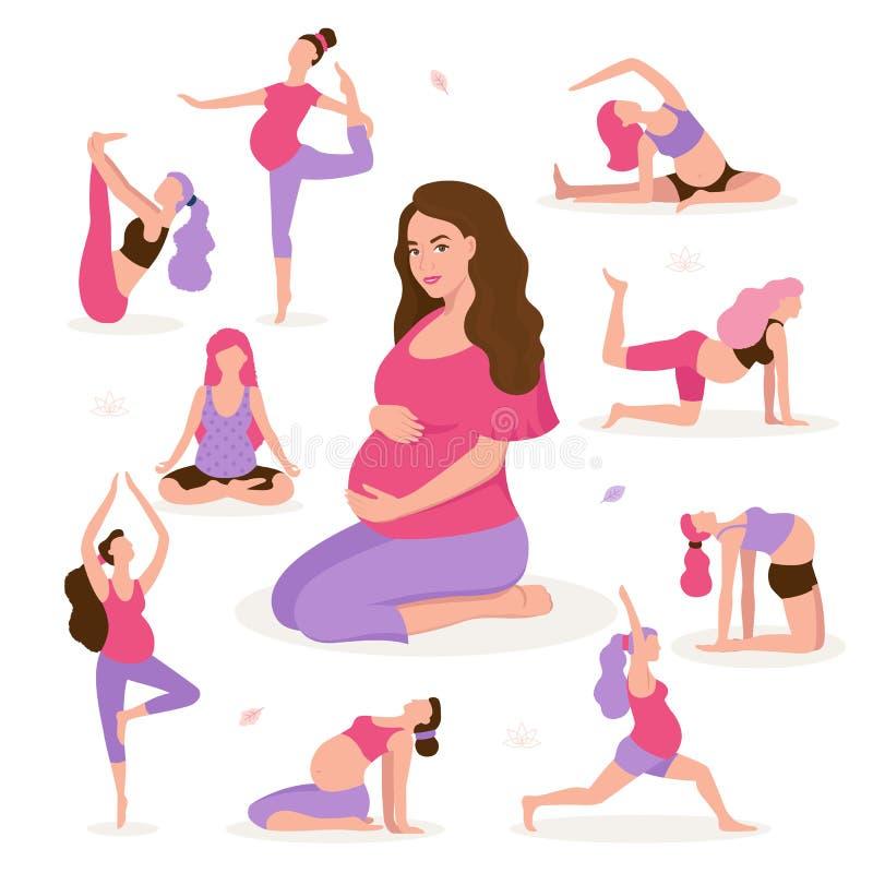 相当做瑜伽的孕妇,有健康生活方式和放松,孕妇的锻炼导航舱内甲板 皇族释放例证