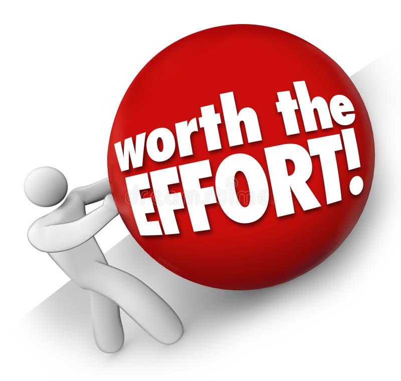 相当努力人滚球艰难挑战工作任务工作价值 库存例证