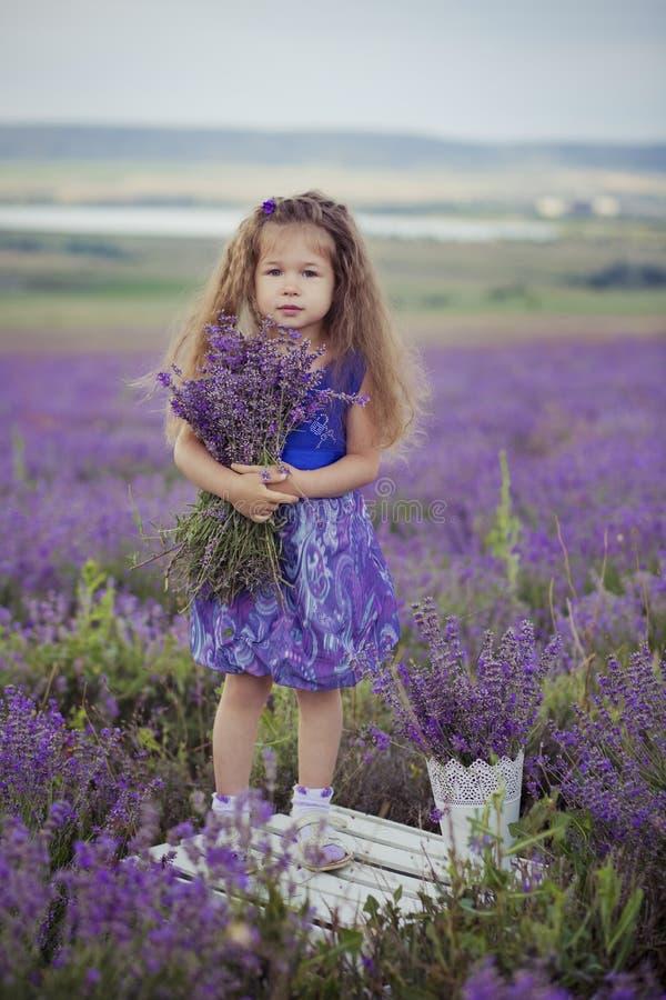 相当女孩在好的帽子船民的淡紫色领域与紫色花坐它 免版税库存图片
