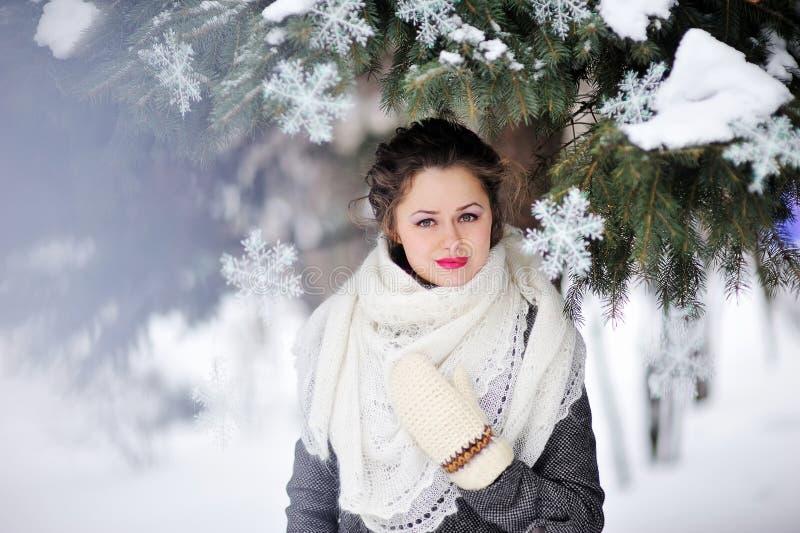 相当女孩室外时尚画象在冬天 免版税库存图片