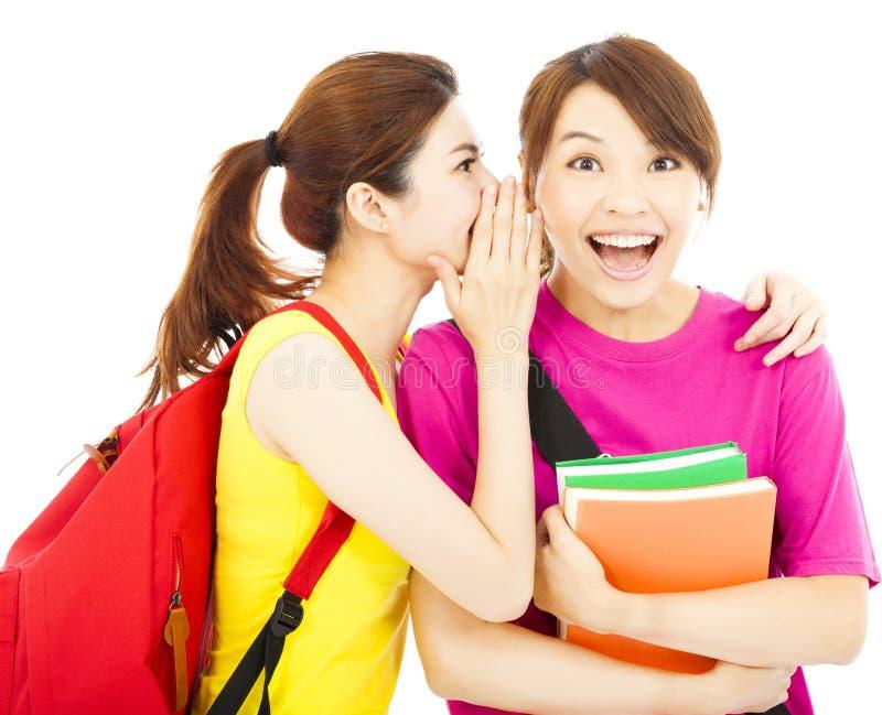 相当女孩对她的同学耳语闲话 免版税库存照片