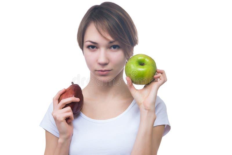 相当女孩用绿色苹果 免版税库存照片