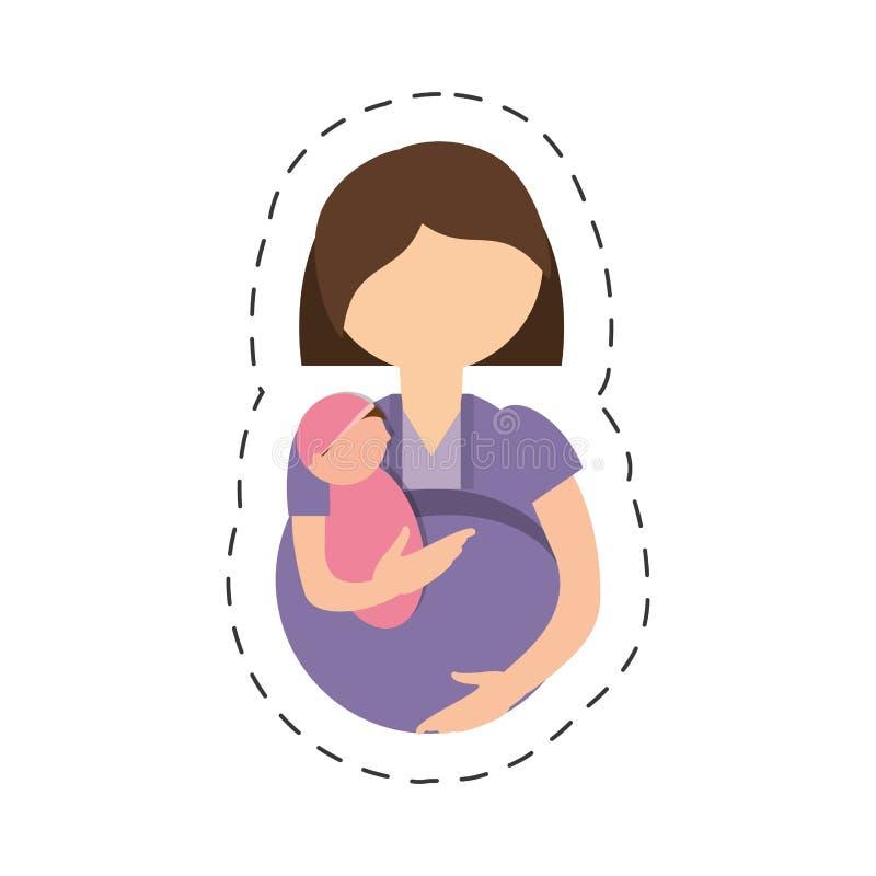 相当孕妇母道 向量例证
