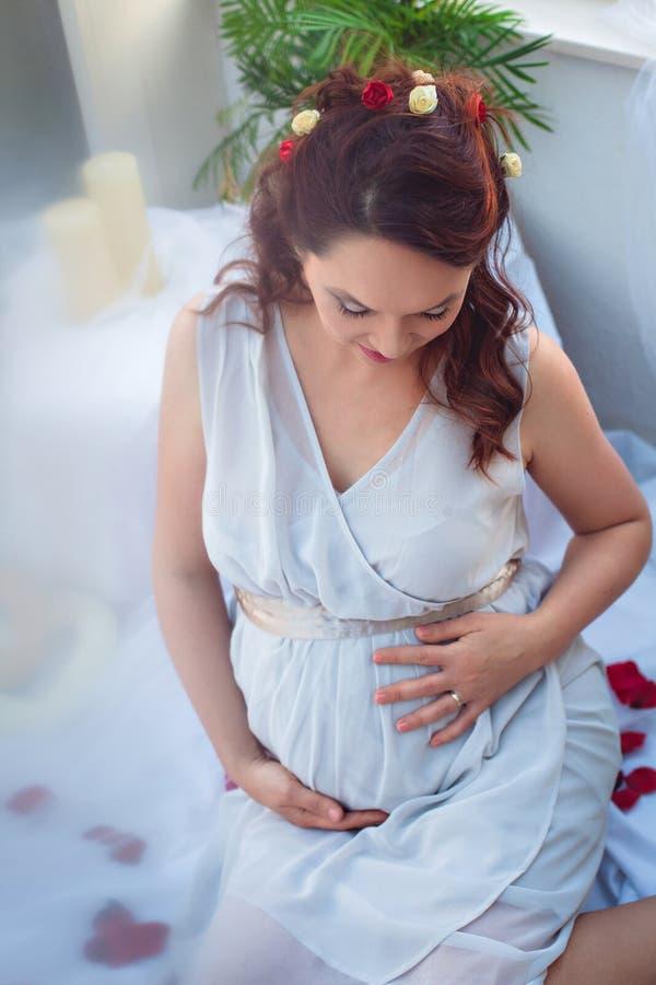 相当孕妇浪漫画象  库存图片