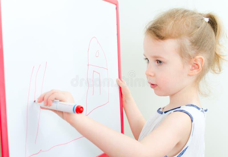 相当小女孩图画 免版税库存照片