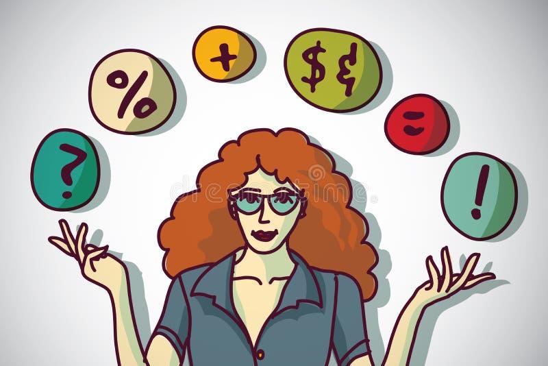 相当少妇和企业标志介绍 向量例证