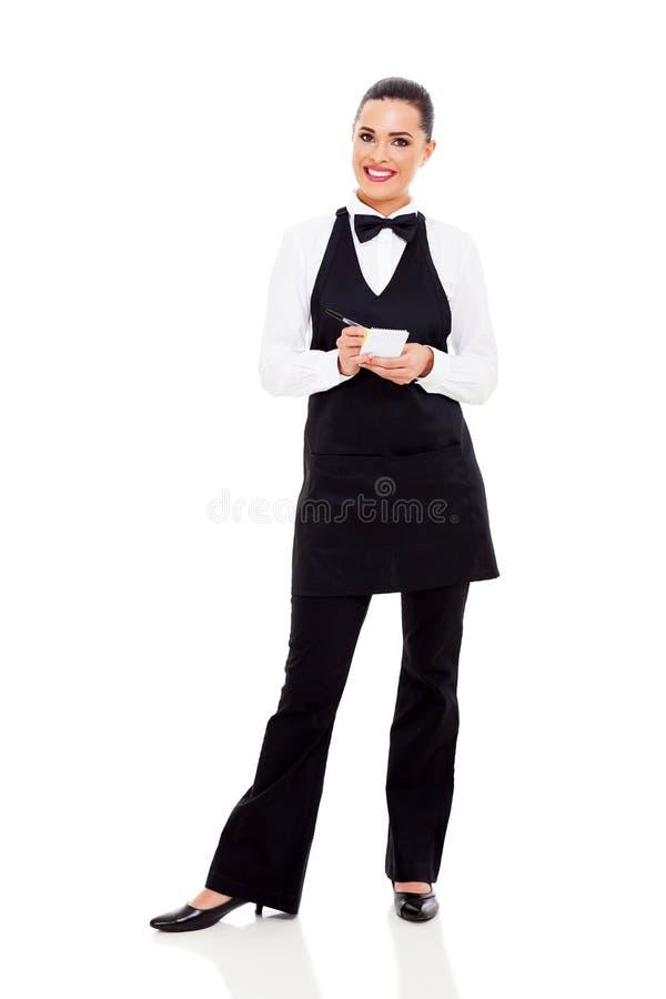 接受命令的女服务员 库存照片