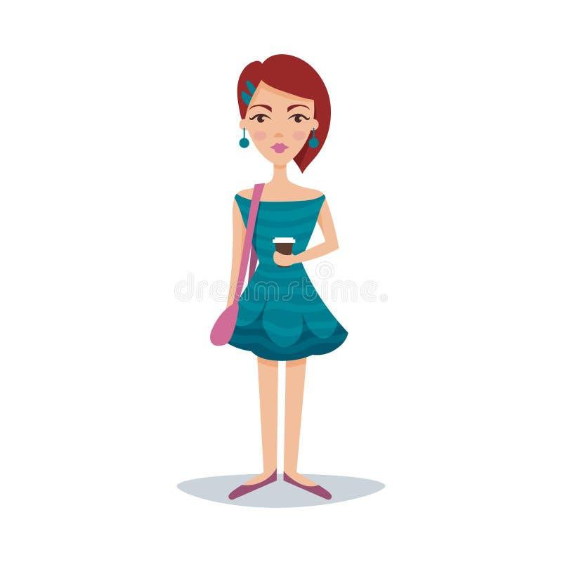 相当有一种时兴的发型的女学生在bondi蓝色礼服和耳环漫画人物传染媒介 库存例证