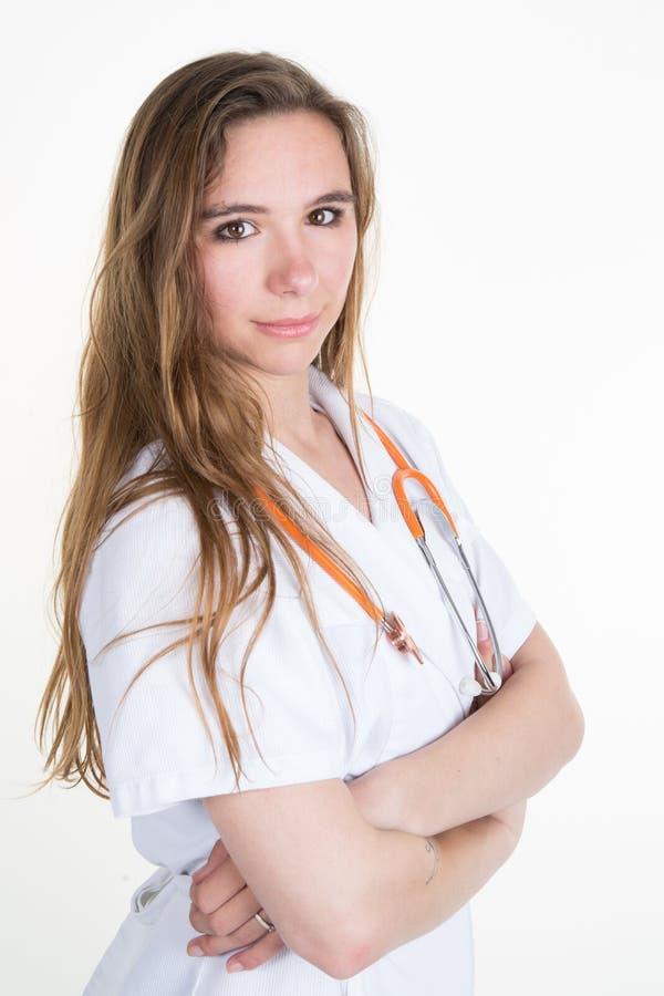 相当有听诊器的-侧视图画象成功的女性医生 图库摄影