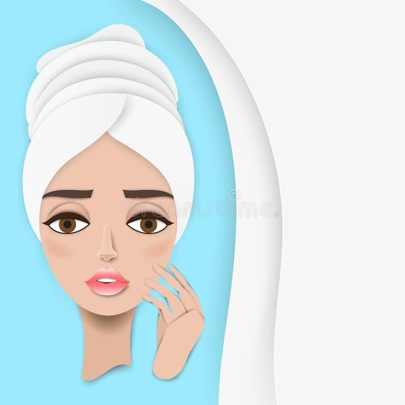相当有毛巾的年轻女报童在她的接触她的面孔的头 向量例证