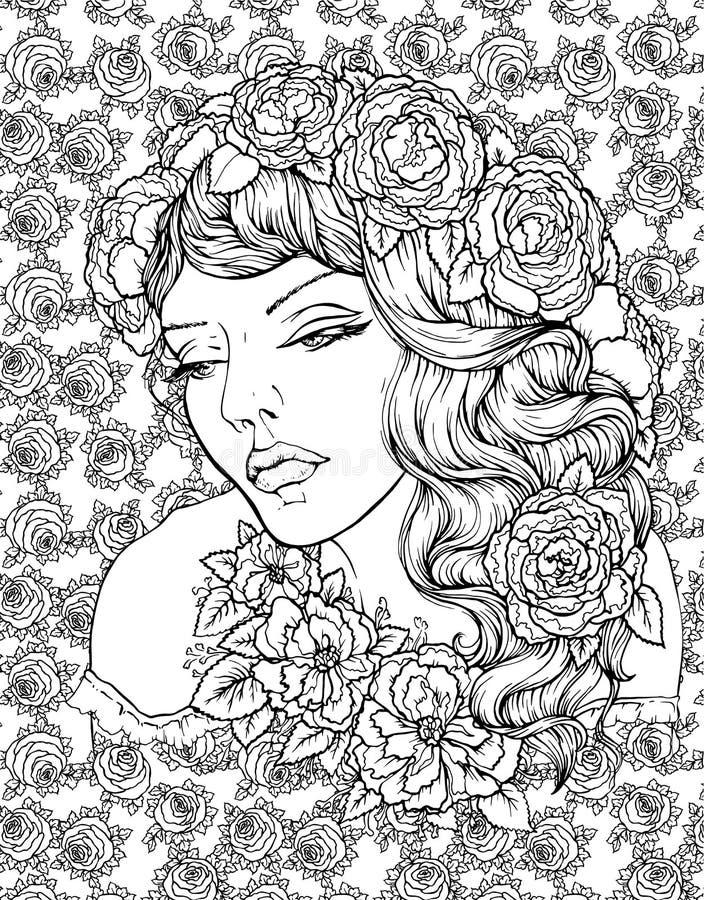 典雅的boho女孩的面孔在与玫瑰的花卉背景 美丽的波浪卷发和pouty嘴唇图片