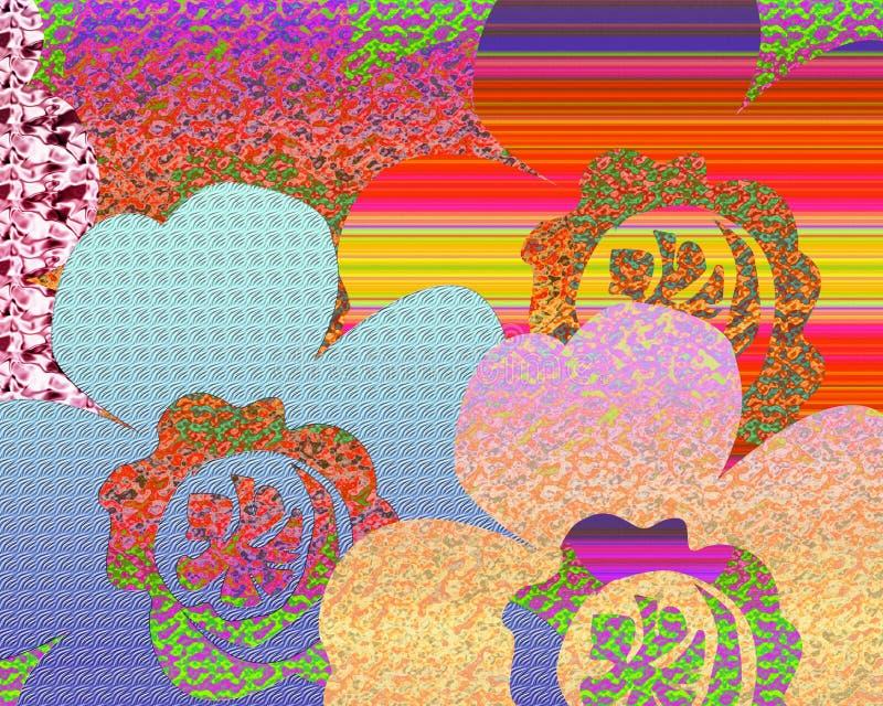 相当淡色florals抽象背景用不同的样式纹理和颜色 免版税库存图片