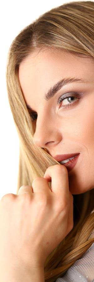 相当白种人女性模型特写镜头画象  免版税图库摄影