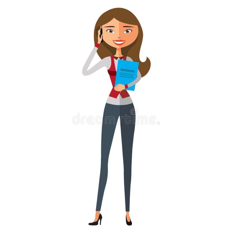 相当白肤金发的女孩谈话在隔绝的手机 传染媒介平的动画片例证 向量例证