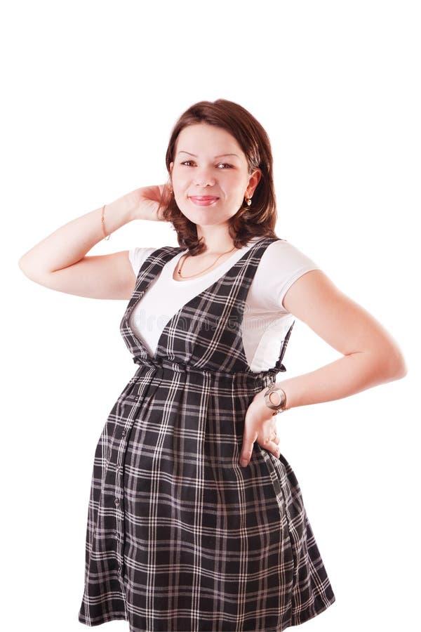 相当礼服的孕妇 免版税库存图片