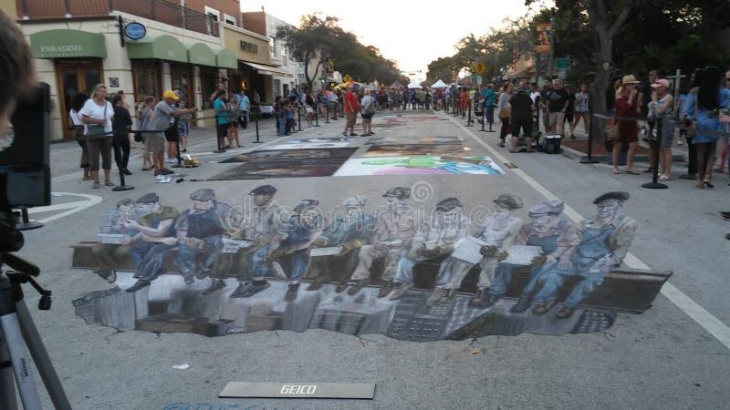 相当街道绘画节日价值的湖 库存照片