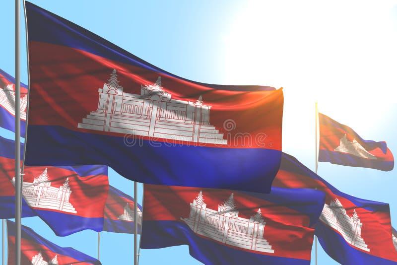 相当许多柬埔寨旗子是在天空蔚蓝背景-所有庆祝旗子3d例证的波浪 皇族释放例证