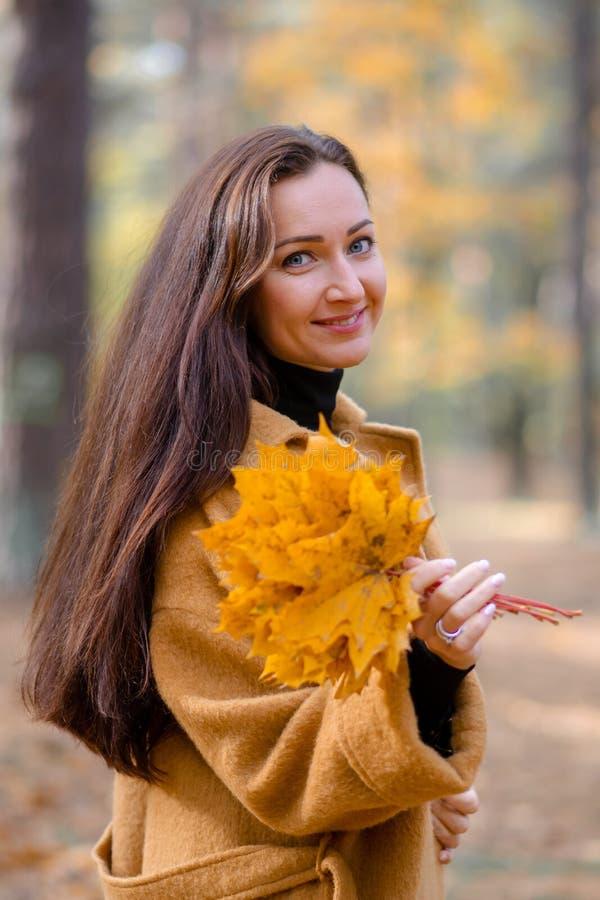 相当走在秋天公园叶子秋天的少妇放松现代休闲的时尚 免版税图库摄影