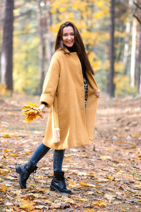 相当走在秋天公园叶子秋天的少妇放松现代休闲的时尚 免版税库存照片