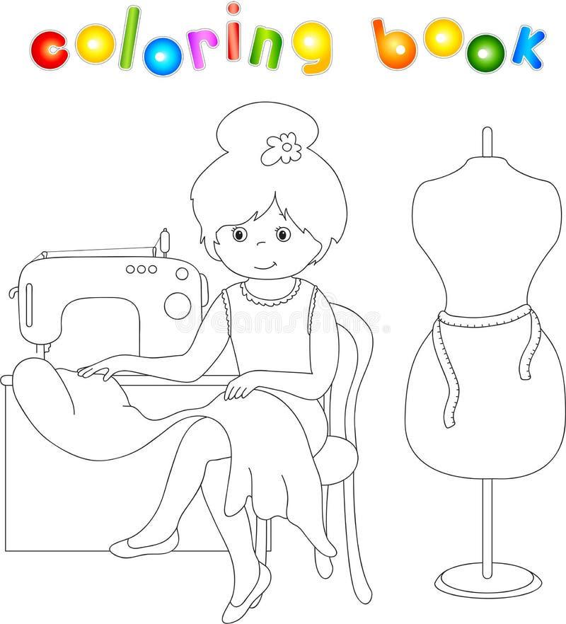 相当逗人喜爱的裁缝坐在缝纫机 库存例证