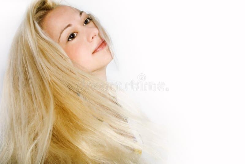 相当长期白肤金发的女性头发 免版税库存照片