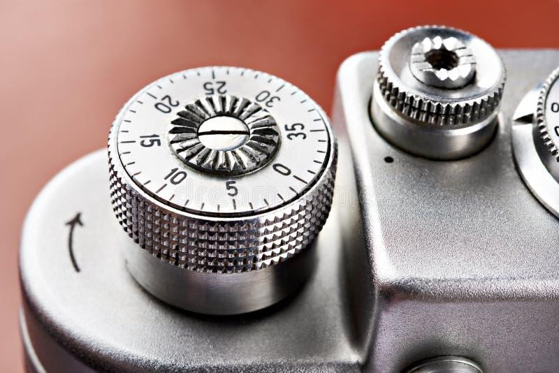 相机快门扣盘上的框计数器 免版税库存图片
