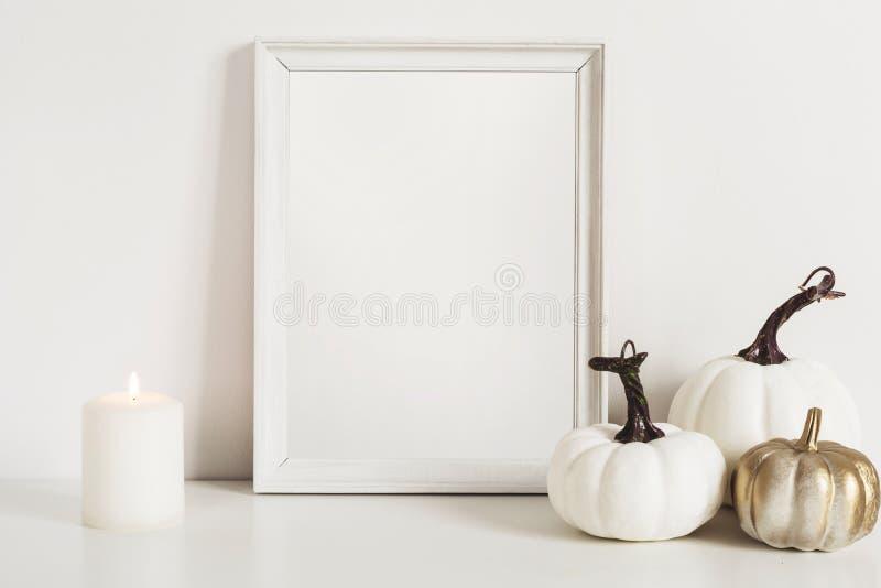 相框和白色南瓜 大模型艺术品的拷贝空间 在内部的秋天装饰 免版税库存照片