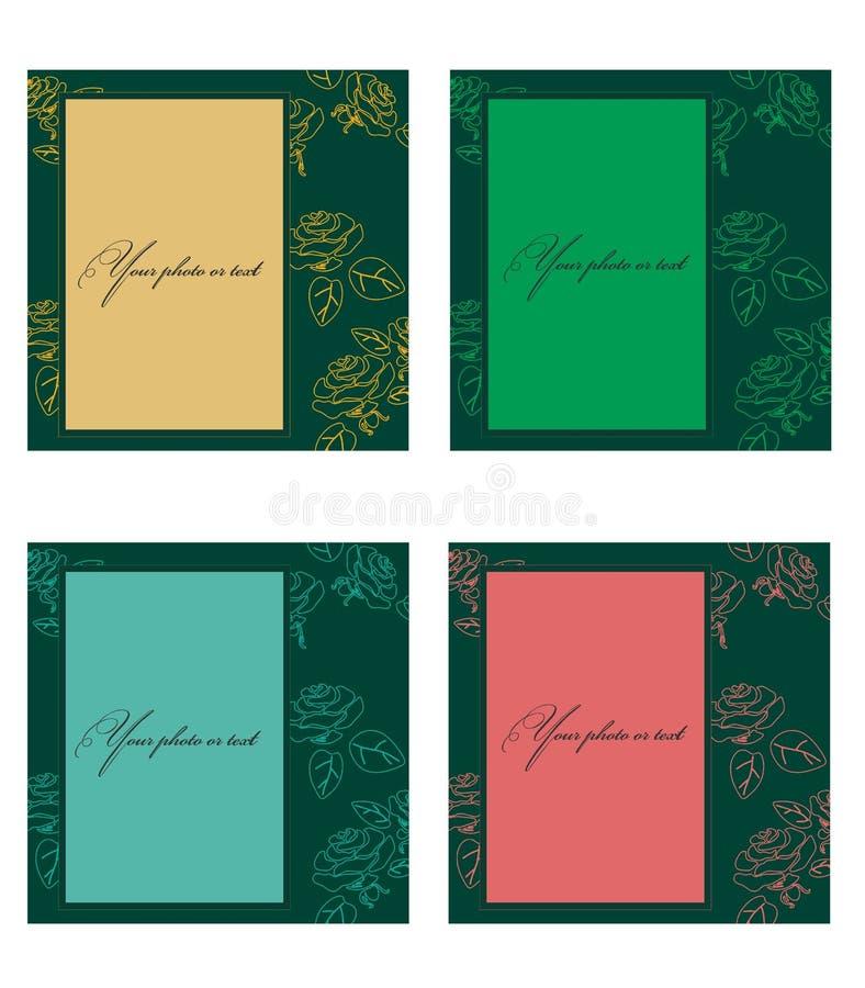 相框或请帖文本的与玫瑰色花概述在四片树荫下 套在白色背景的卡片 库存例证
