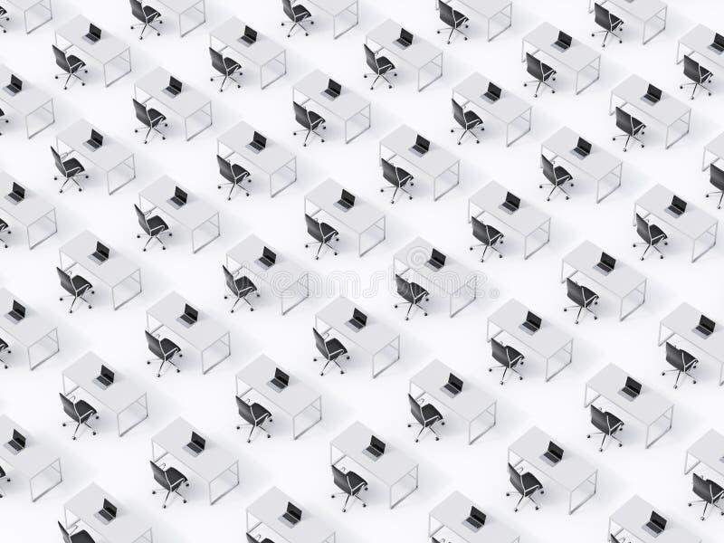 相称公司工作场所的一张顶视图在白色地板上的 公司生活的概念在一家巨大的跨国公司中 库存例证