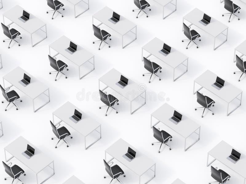 相称公司工作场所的一张顶视图在白色地板上的 公司生活的概念在一家巨大的跨国公司中 Blac 向量例证