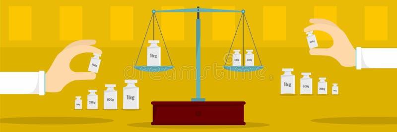 相等的定标横幅,平的样式 向量例证